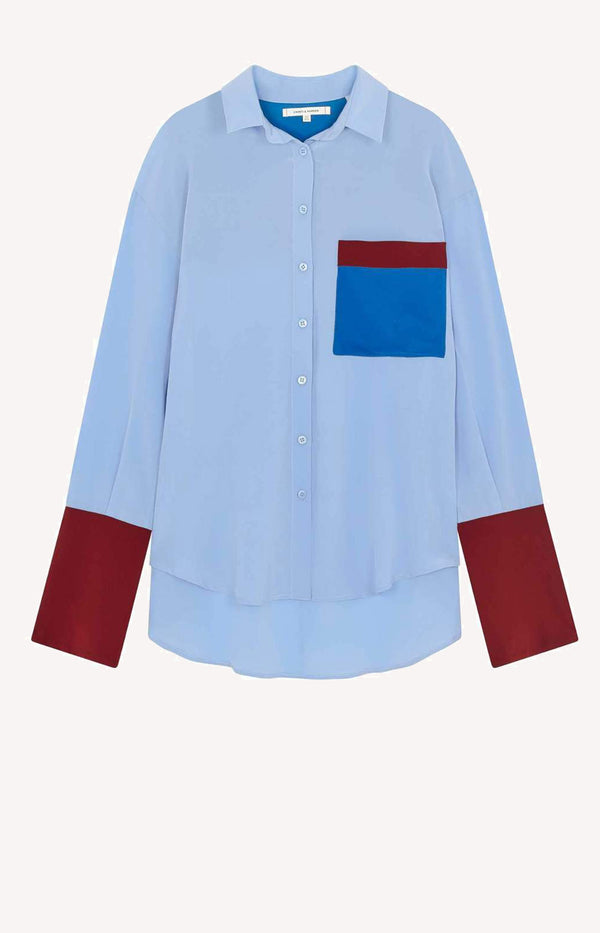 Seidenbluse Colour Block in Sky BlueChinti and Parker - Anita Hass