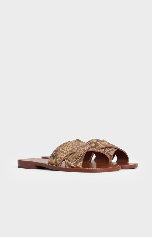 Criss Cross Slides 10 in Braun/GoldCeline - Anita Hass