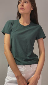 T-Shirt Sheer Slub Crew in Canopy Grün