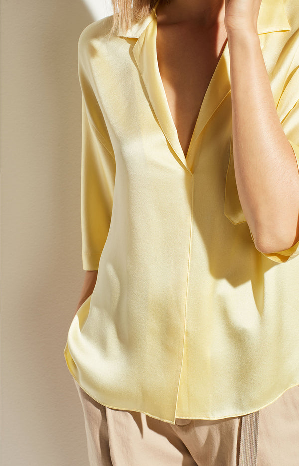 Satin PJ Shirt in Lemon Glow