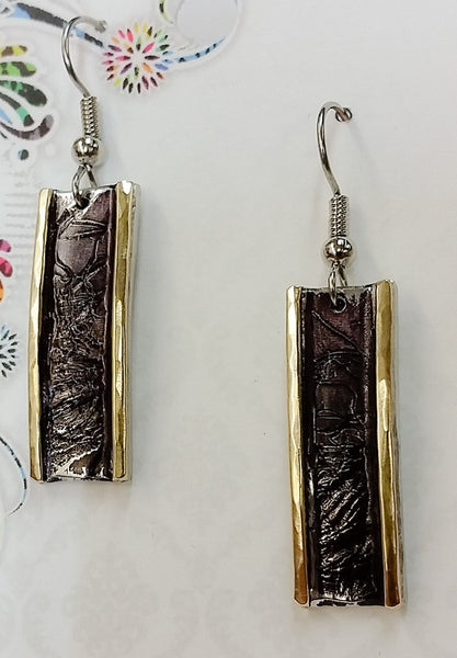 Bold & Brass Black Earrings