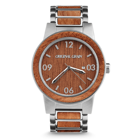 Mahogany / Brushed Silver / Wood Dial