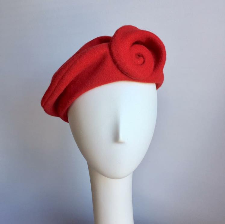 Whorled Beret with Ear Flaps in Red or Black