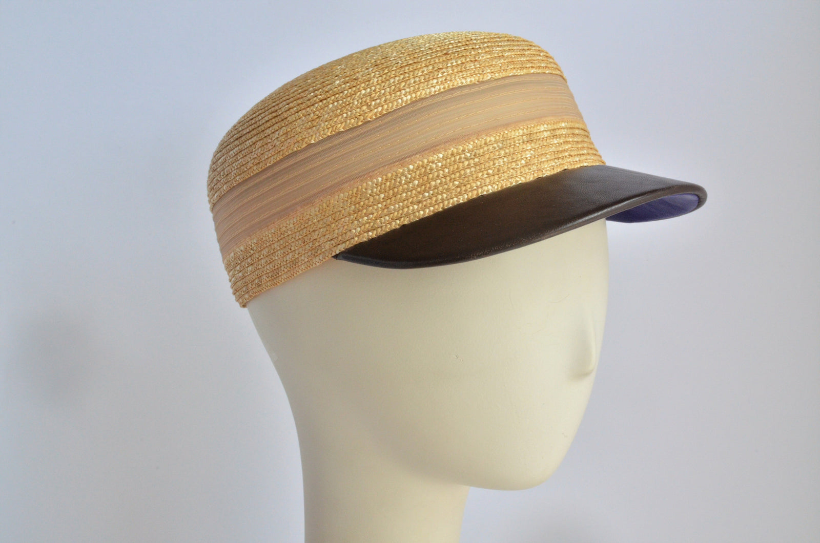 """Straw Cap with Brown Brim"""