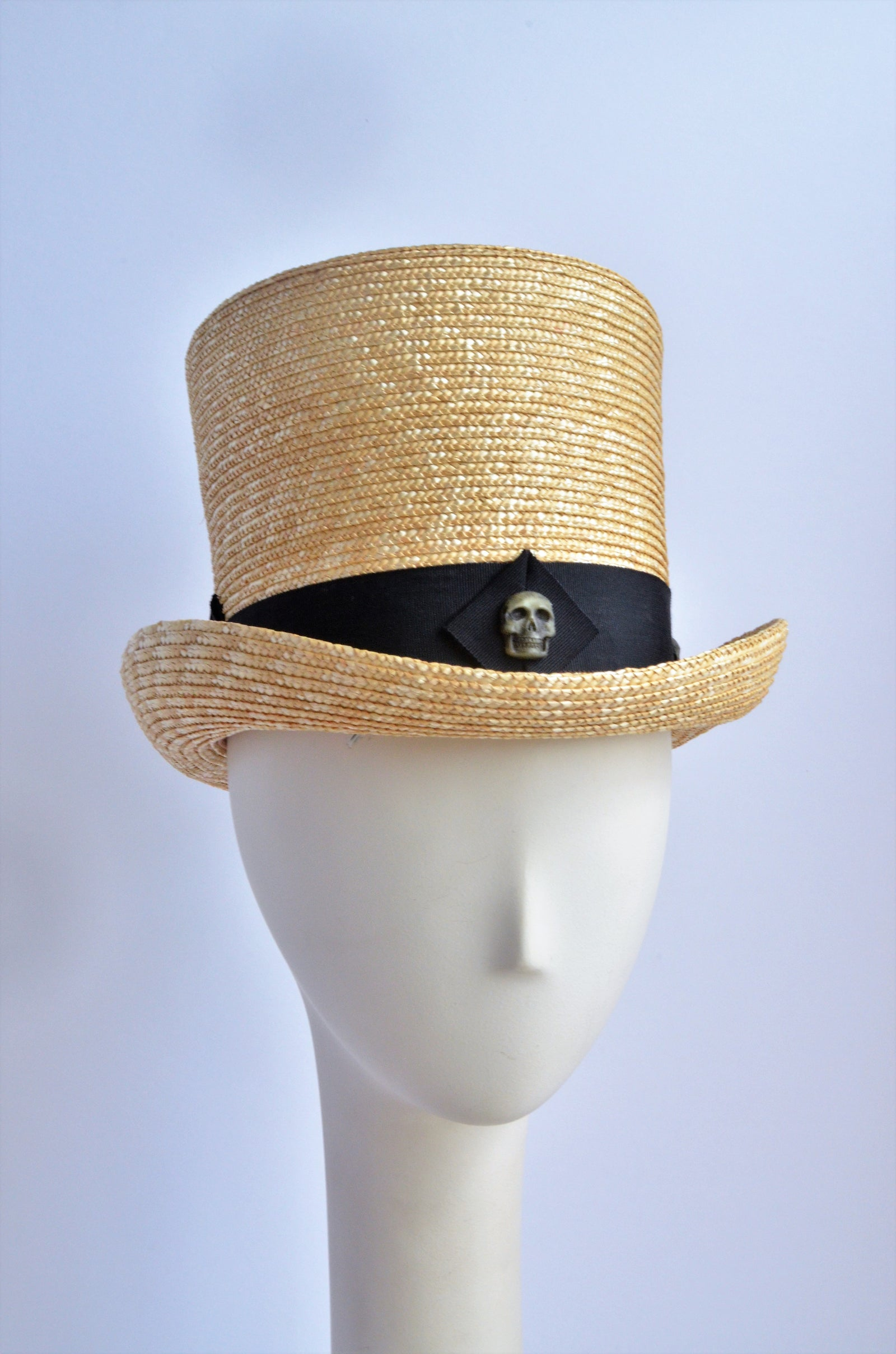 """Straw Top Hat with Skulls"""