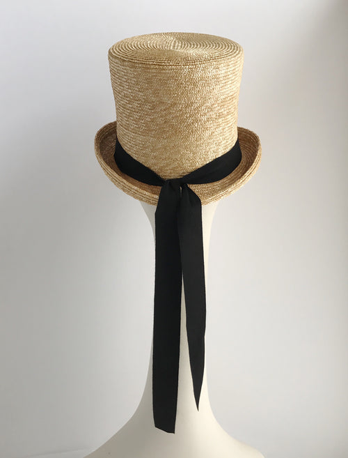 Top Hat and Tails Natural Straw Hat