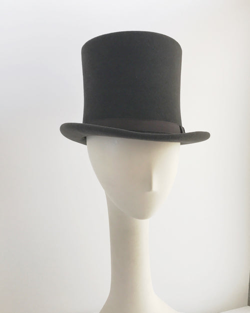 Charcoal Gray Fur Felt Top Hat