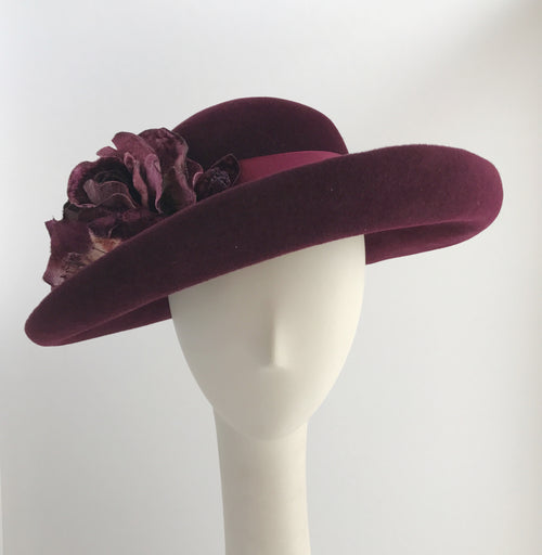 Plum Wide Brim Felt Hat with Vintage Flowers