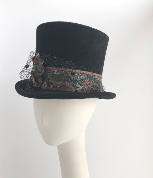 Top Hat with Veil and Vintage Ribbon in Black