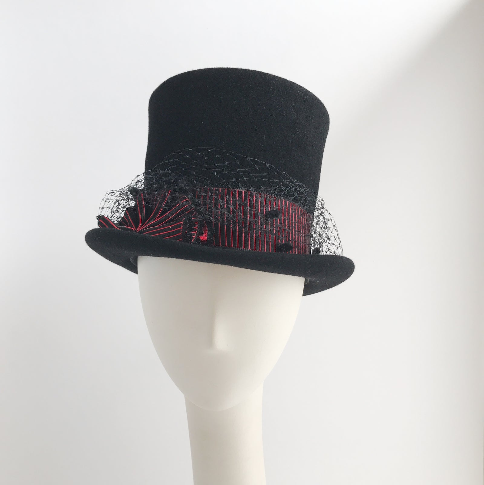 Black Marlin Top Hat with Veil and Vintage Ribbon