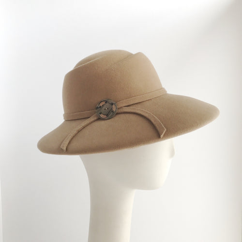 Fawn Wide Brim Felt Hat with Felt Trim and Vintage Button