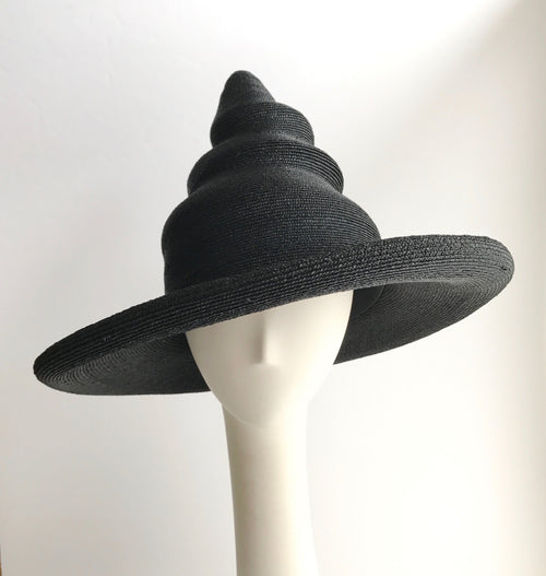 Wizard and Witches Hat in Black Straw