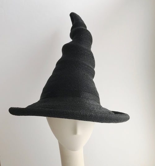 Tall Witch or Wizard Twister Hat in Black Straw