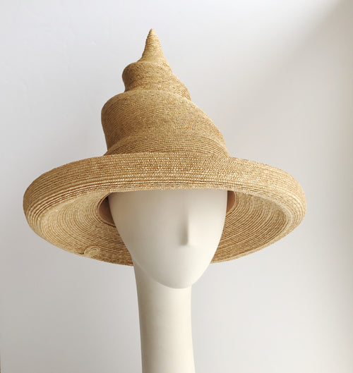 Witch Hat with a Double Twist in Natural Straw