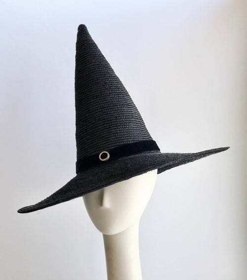 Pointed Witch Hat in Black Straw