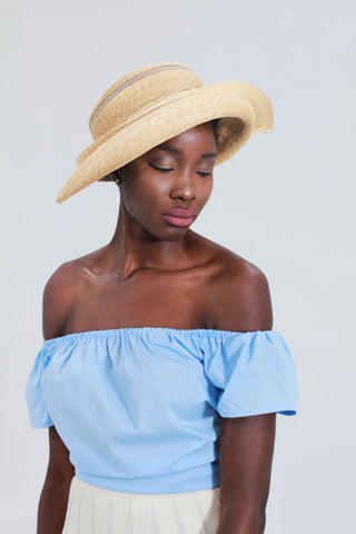 """Black & Tan"" - Straw Wide Brim Sun Hat"