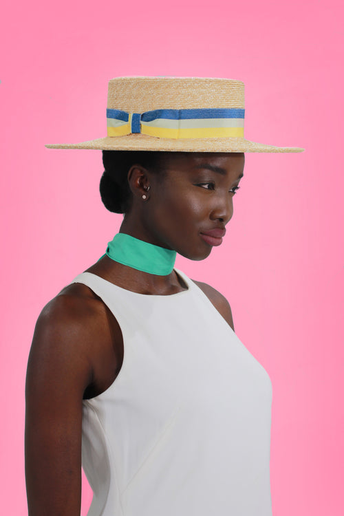 Straw Boater  Sun Hat with Tri Color Ribbon