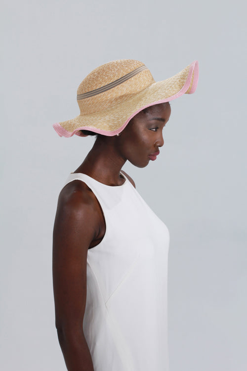 Clam Shell Hat in Natural Straw with Pink Trim