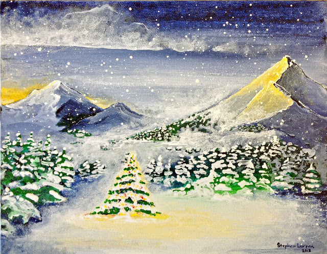 Soft Glow of Christmas Lights - Landscape painting by Stephen Lursen
