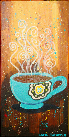coffee cup painting by Cara Lursen - stephen lursen art