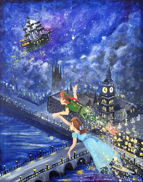 Peter Pan and Wendy painting by Stephen Lursen for Ever After 2017 willowing arts