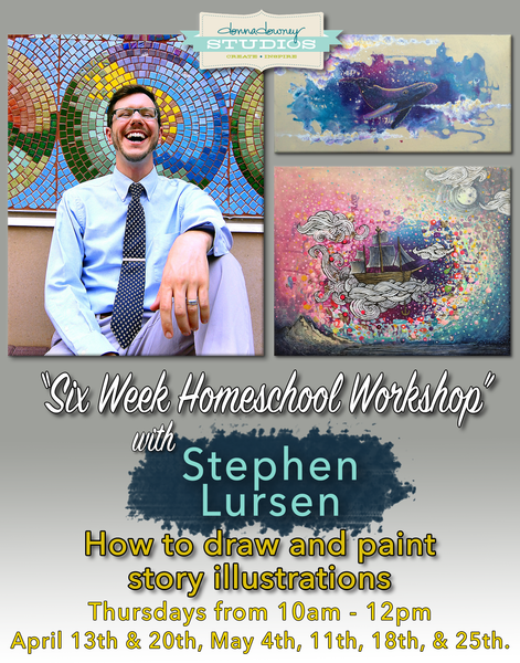 6 week homeschool art class: How to draw and paint story book illustrations