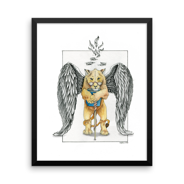 Super Intelligent, Magical Librarian, Lioness Angel Fine Art Print: Framed Photo paper poster