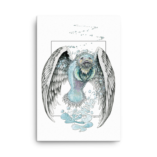 "Fine Art Canvas Reproduction: ""Water Bending, Flying, Manatee Angel"""