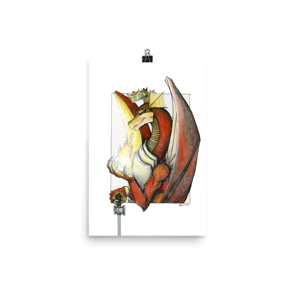 Kingly Might, Magical Flight, Royal Knight, Red Dragon Fine Art Print: Photo paper poster