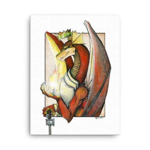 "Fine Art Canvas Reproduction: ""Kingly Might, Magical Flight, Royal Knight, Reddest of Dragons"""