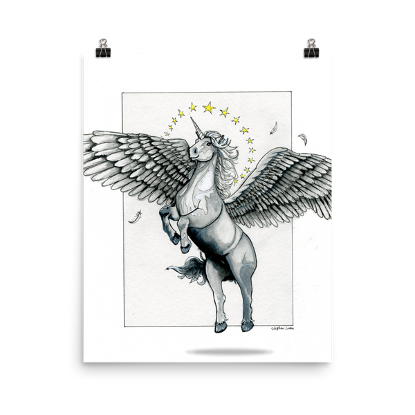 Magical Flying, Star Haloed, Silver Alicorn Fine Art Print: Photo paper poster