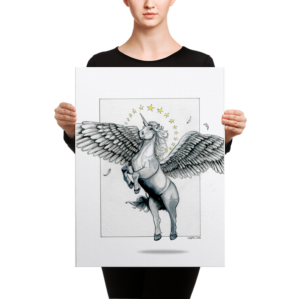 Fine Art Canvas Reproduction: Magical Flying, Star Haloed, Silver Alicorn