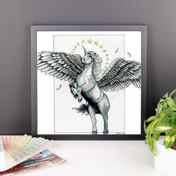 Magical Flying, Star Haloed, Silver Alicorn Fine Art Print: Framed photo paper poster