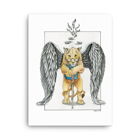 Fine Art Canvas Reproduction: Super Intelligent, Magical Librarian, Lioness Angel