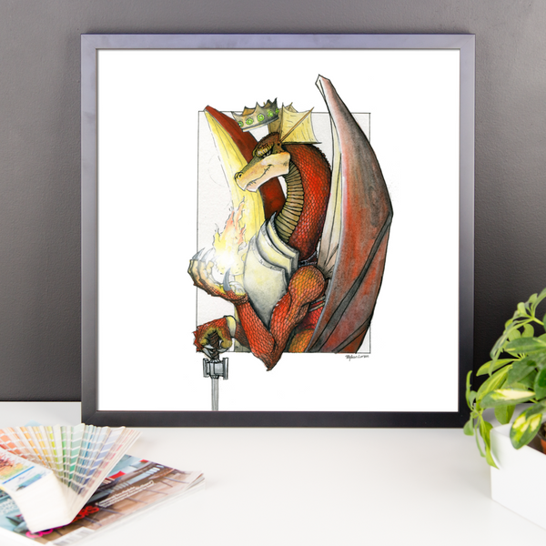 Kingly Might, Magical Flight, Royal Knight, Red Dragon Fine Art Print: Framed photo paper poster