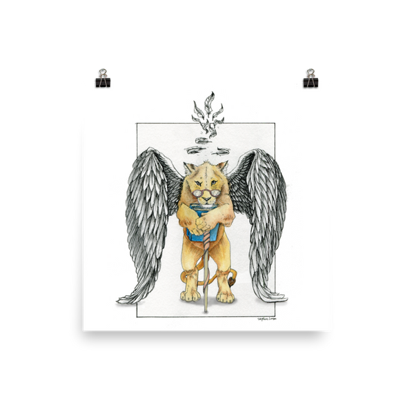 Super Intelligent, Magical Librarian, Lioness Angel Fine Art Print: Photo paper poster