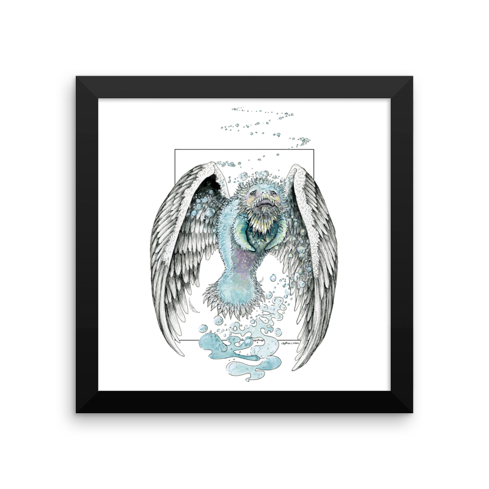 Water Bending, Flying, Manatee Angel Fine Art Print: Framed photo paper poster