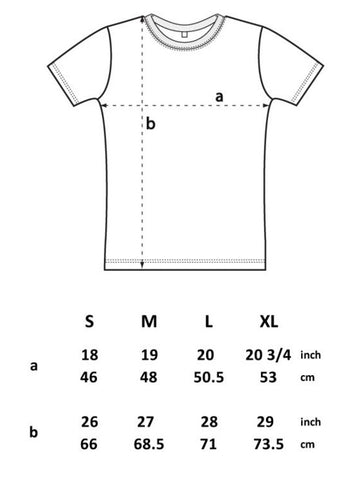 SIZE GUIDE mens fitted T-shirt