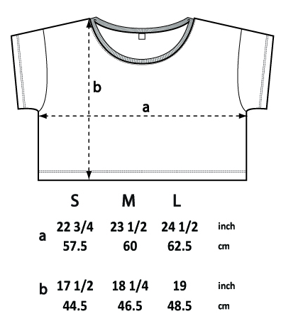 SIZE CHART SIZE GUIDE loose fit crop top