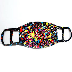 BLACK SPLASH MASK WITH BAG - PACK OF 2 (SECOND MASK WHITE WITH MULTI COLOURED SPLASH)