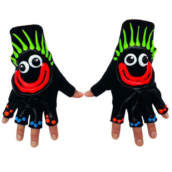 COUCHUK - UV REACTIVE - HAND PAINTED GLOVES CHARACTER WITH GREEN HAIR - Clubwear - PLUR - Rave clothing