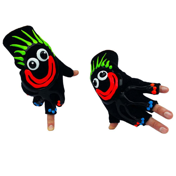 HAND PAINTED GLOVES CHARACTER WITH GREEN HAIR