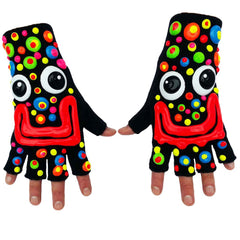 COUCHUK - UV REACTIVE - HAND PAINTED FACE WITH MULTI COLOURED SMARTIES GLOVES - Clubwear - PLUR - Rave clothing