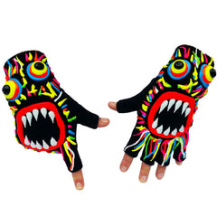 COUCHUK - UV REACTIVE - HAND PAINTED GLOVES MULTI COLOURED WILD HAIR - Clubwear - PLUR - Rave clothing