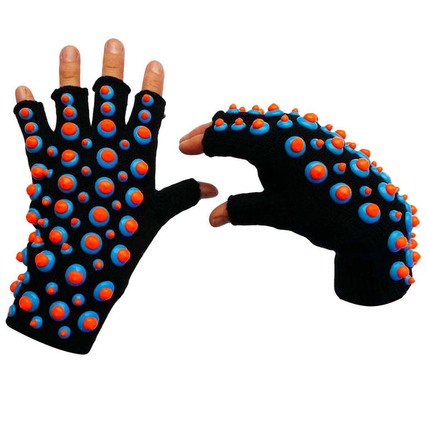COUCHUK - UV REACTIVE - HAND PAINTED SMARTIE GLOVES BLUE/ORANGE - Clubwear - PLUR - Rave clothing