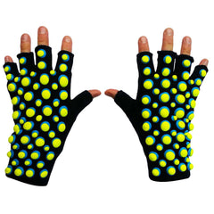 COUCHUK - UV REACTIVE - HAND PAINTED SMARTIE GLOVES BLUE/YELLOW - Clubwear - PLUR - Rave clothing