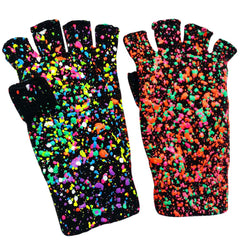 COUCHUK - UV REACTIVE - SPLAT GLOVES GREEN ORANGE MULTI - Clubwear - PLUR - Rave clothing