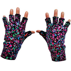 COUCHUK - UV REACTIVE - SPLAT GLOVES PURPLE GREEN PINK MULTI - Clubwear - PLUR - Rave clothing