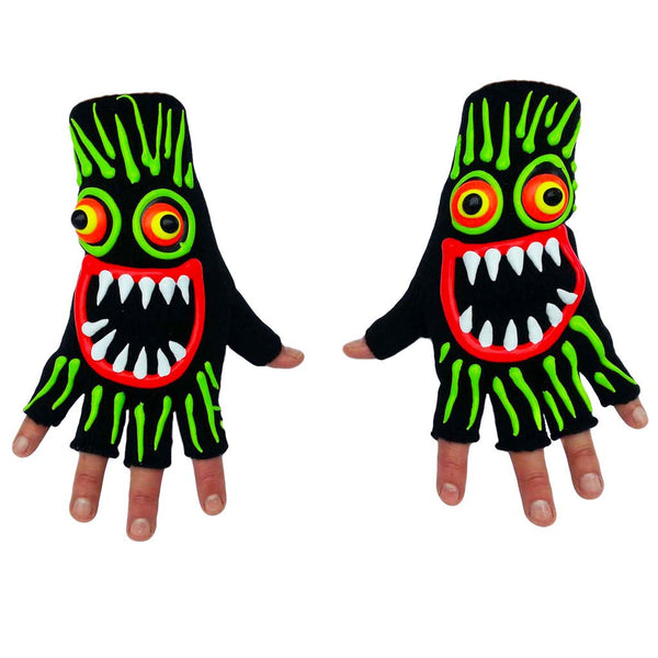 COUCHUK - UV REACTIVE - HAND PAINTED FACE WITH GREEN HAIR GLOVES - Clubwear - PLUR - Rave clothing