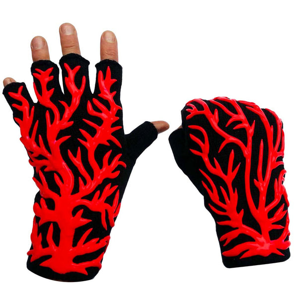 COUCHUK - UV REACTIVE - HAND PAINTED VEINS GLOVES RED - Clubwear - PLUR - Rave clothing